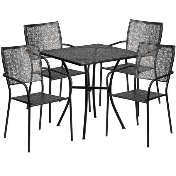 Wholesale 28'' Square Black Indoor-Outdoor Steel Patio Table Set with 4 Square Back Chairs