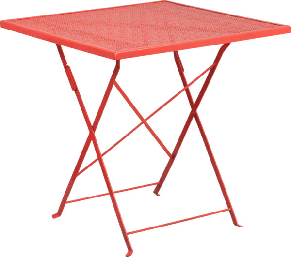 Wholesale 28'' Square Coral Indoor-Outdoor Steel Folding Patio Table