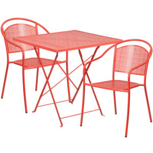 Wholesale 28'' Square Coral Indoor-Outdoor Steel Folding Patio Table Set with 2 Round Back Chairs