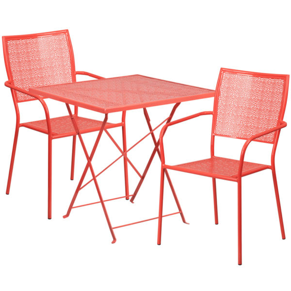 Wholesale 28'' Square Coral Indoor-Outdoor Steel Folding Patio Table Set with 2 Square Back Chairs