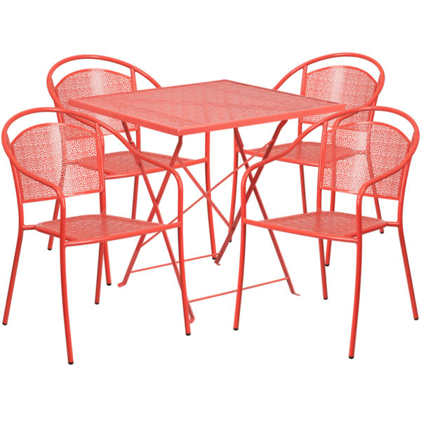 Wholesale 28'' Square Coral Indoor-Outdoor Steel Folding Patio Table Set with 4 Round Back Chairs