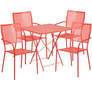 Wholesale 28'' Square Coral Indoor-Outdoor Steel Folding Patio Table Set with 4 Square Back Chairs