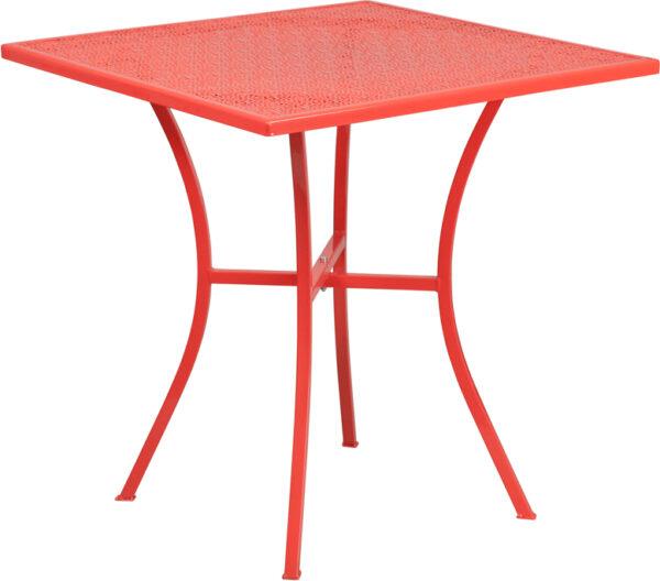 Wholesale 28'' Square Coral Indoor-Outdoor Steel Patio Table