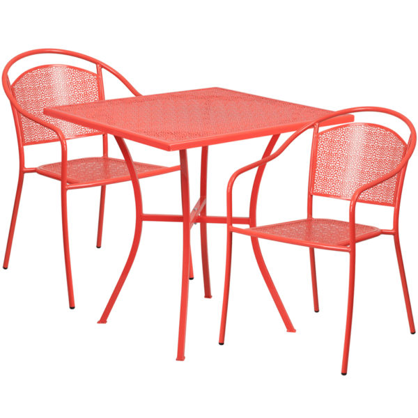 Wholesale 28'' Square Coral Indoor-Outdoor Steel Patio Table Set with 2 Round Back Chairs