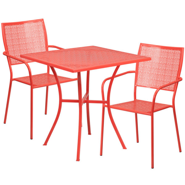Wholesale 28'' Square Coral Indoor-Outdoor Steel Patio Table Set with 2 Square Back Chairs
