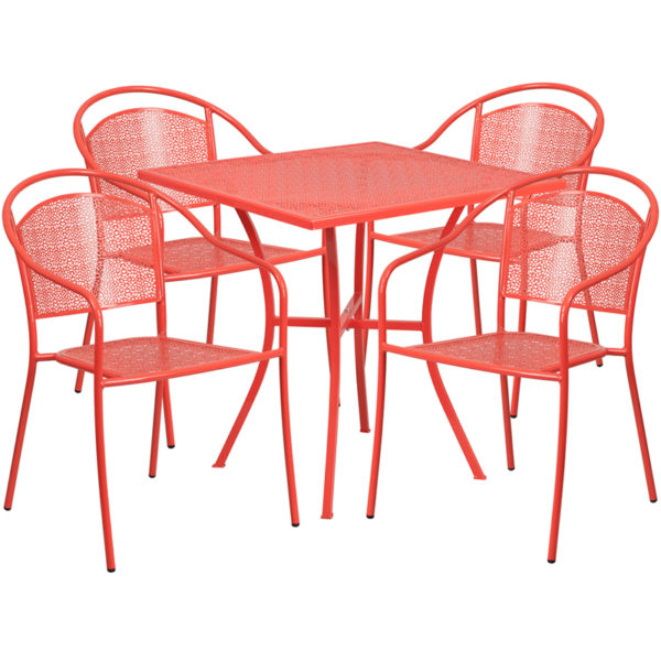 Wholesale 28'' Square Coral Indoor-Outdoor Steel Patio Table Set with 4 Round Back Chairs