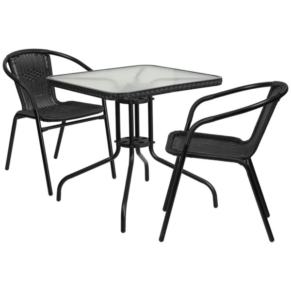 Wholesale 28'' Square Glass Metal Table with Black Rattan Edging and 2 Black Rattan Stack Chairs