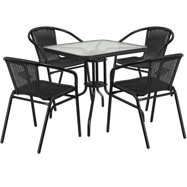 Wholesale 28'' Square Glass Metal Table with Black Rattan Edging and 4 Black Rattan Stack Chairs