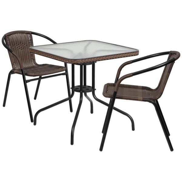 Wholesale 28'' Square Glass Metal Table with Dark Brown Rattan Edging and 2 Dark Brown Rattan Stack Chairs