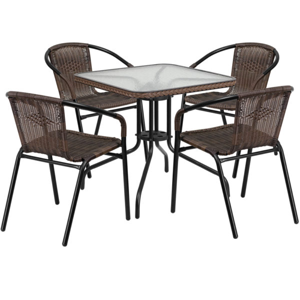 Wholesale 28'' Square Glass Metal Table with Dark Brown Rattan Edging and 4 Dark Brown Rattan Stack Chairs