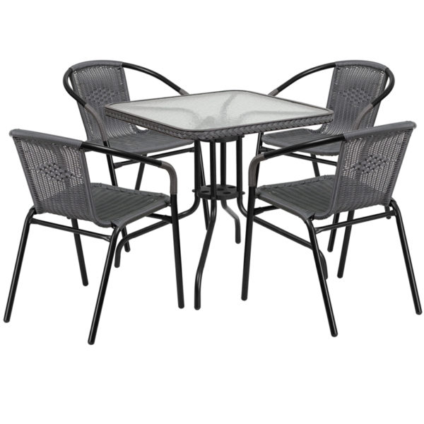 Wholesale 28'' Square Glass Metal Table with Gray Rattan Edging and 4 Gray Rattan Stack Chairs