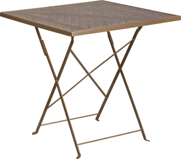 Wholesale 28'' Square Gold Indoor-Outdoor Steel Folding Patio Table