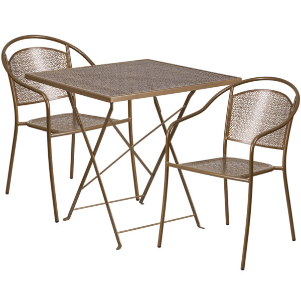 Wholesale 28'' Square Gold Indoor-Outdoor Steel Folding Patio Table Set with 2 Round Back Chairs