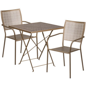 Wholesale 28'' Square Gold Indoor-Outdoor Steel Folding Patio Table Set with 2 Square Back Chairs