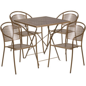 Wholesale 28'' Square Gold Indoor-Outdoor Steel Folding Patio Table Set with 4 Round Back Chairs