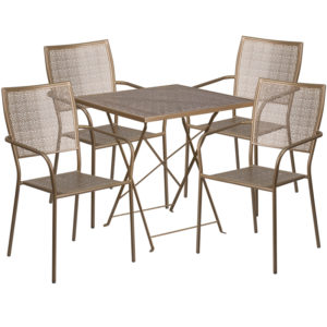 Wholesale 28'' Square Gold Indoor-Outdoor Steel Folding Patio Table Set with 4 Square Back Chairs