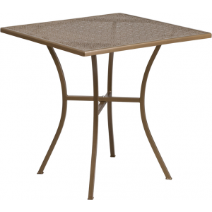 Wholesale 28'' Square Gold Indoor-Outdoor Steel Patio Table