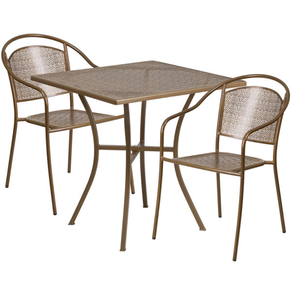 Wholesale 28'' Square Gold Indoor-Outdoor Steel Patio Table Set with 2 Round Back Chairs