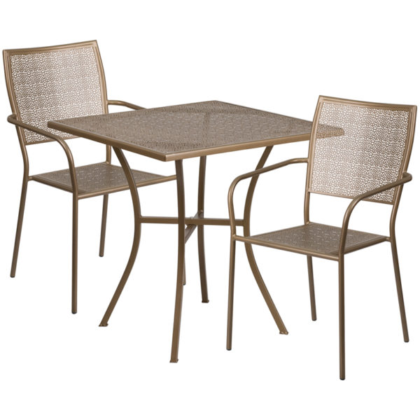 Wholesale 28'' Square Gold Indoor-Outdoor Steel Patio Table Set with 2 Square Back Chairs