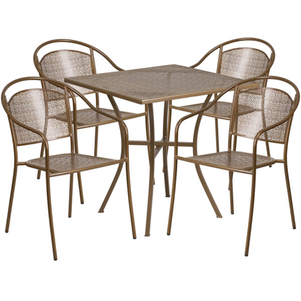 Wholesale 28'' Square Gold Indoor-Outdoor Steel Patio Table Set with 4 Round Back Chairs