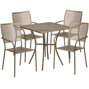 Wholesale 28'' Square Gold Indoor-Outdoor Steel Patio Table Set with 4 Square Back Chairs