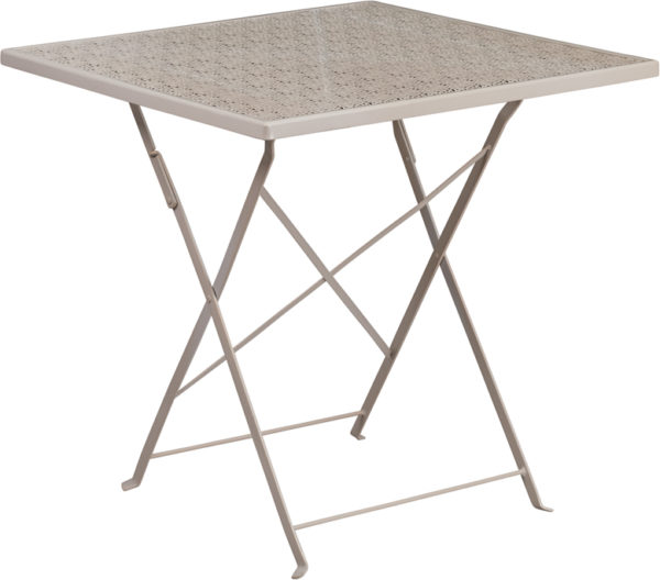 Wholesale 28'' Square Light Gray Indoor-Outdoor Steel Folding Patio Table