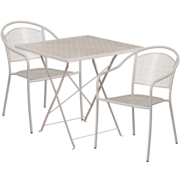 Wholesale 28'' Square Light Gray Indoor-Outdoor Steel Folding Patio Table Set with 2 Round Back Chairs