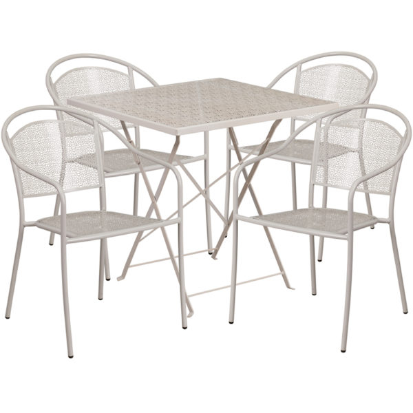 Wholesale 28'' Square Light Gray Indoor-Outdoor Steel Folding Patio Table Set with 4 Round Back Chairs