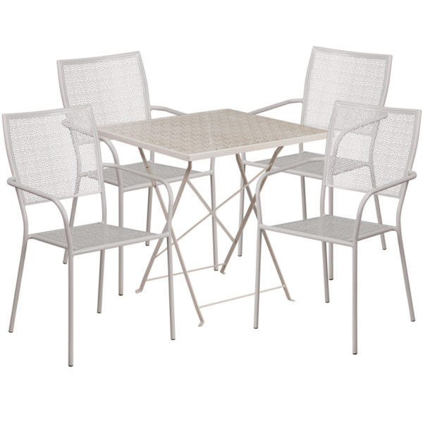 Wholesale 28'' Square Light Gray Indoor-Outdoor Steel Folding Patio Table Set with 4 Square Back Chairs