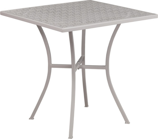 Wholesale 28'' Square Light Gray Indoor-Outdoor Steel Patio Table