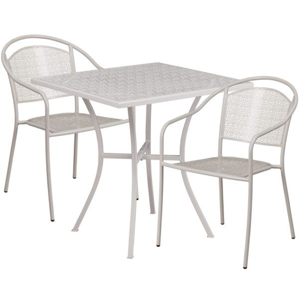 Wholesale 28'' Square Light Gray Indoor-Outdoor Steel Patio Table Set with 2 Round Back Chairs