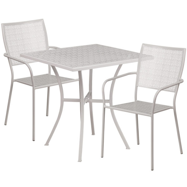 Wholesale 28'' Square Light Gray Indoor-Outdoor Steel Patio Table Set with 2 Square Back Chairs