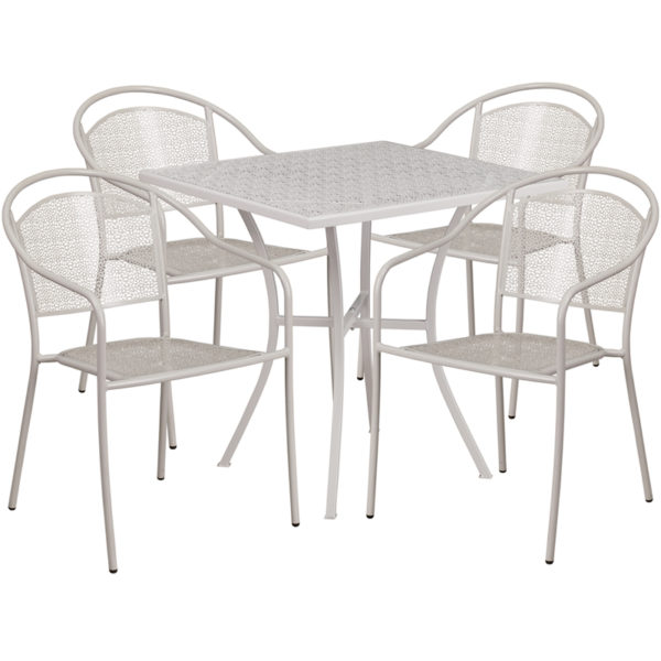 Wholesale 28'' Square Light Gray Indoor-Outdoor Steel Patio Table Set with 4 Round Back Chairs