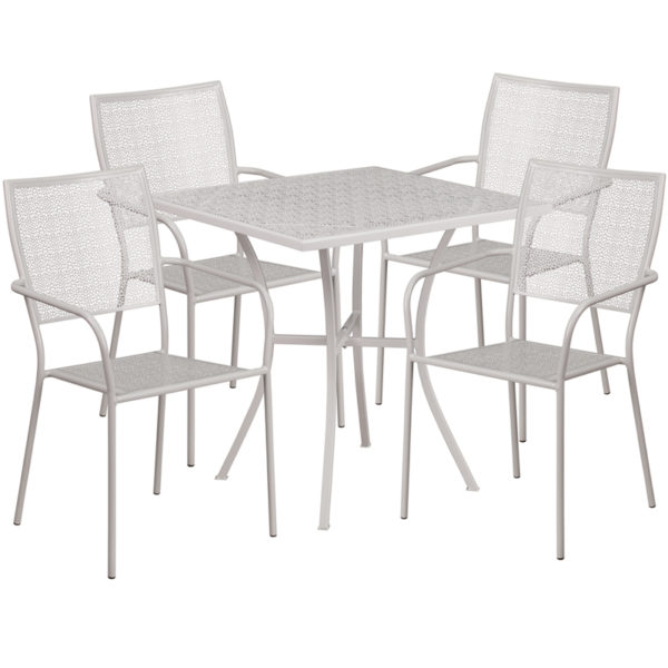 Wholesale 28'' Square Light Gray Indoor-Outdoor Steel Patio Table Set with 4 Square Back Chairs