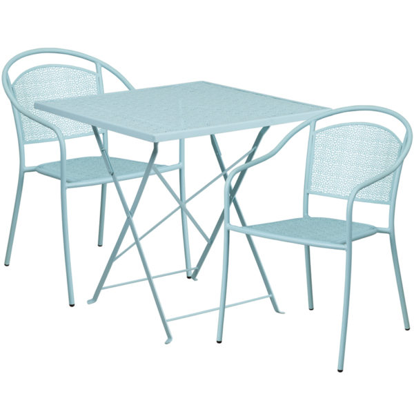 Wholesale 28'' Square Sky Blue Indoor-Outdoor Steel Folding Patio Table Set with 2 Round Back Chairs