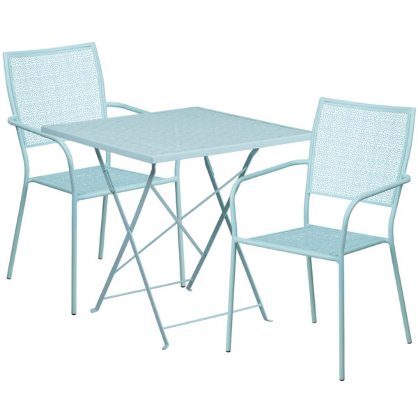 Wholesale 28'' Square Sky Blue Indoor-Outdoor Steel Folding Patio Table Set with 2 Square Back Chairs