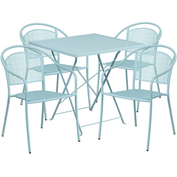 Wholesale 28'' Square Sky Blue Indoor-Outdoor Steel Folding Patio Table Set with 4 Round Back Chairs
