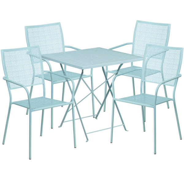 Wholesale 28'' Square Sky Blue Indoor-Outdoor Steel Folding Patio Table Set with 4 Square Back Chairs