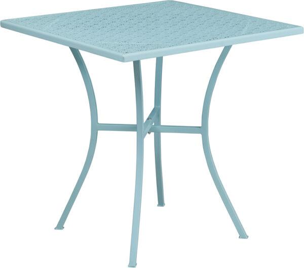 Wholesale 28'' Square Sky Blue Indoor-Outdoor Steel Patio Table