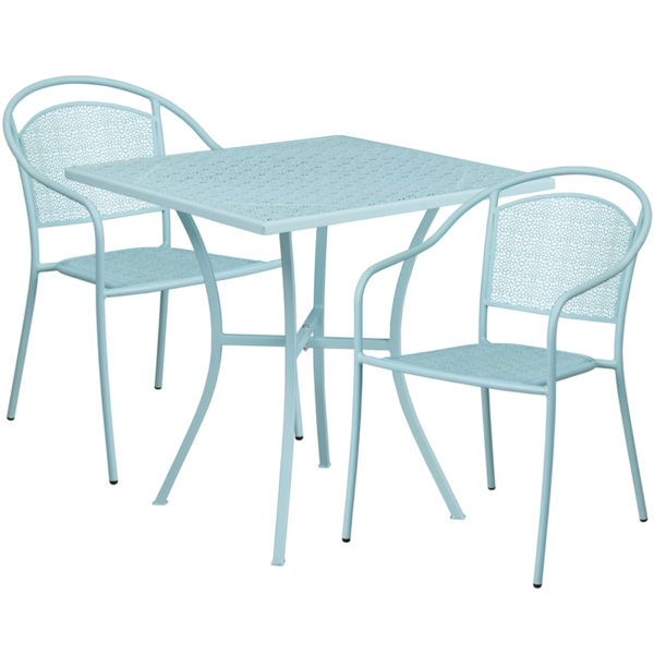 Wholesale 28'' Square Sky Blue Indoor-Outdoor Steel Patio Table Set with 2 Round Back Chairs