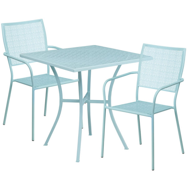 Wholesale 28'' Square Sky Blue Indoor-Outdoor Steel Patio Table Set with 2 Square Back Chairs