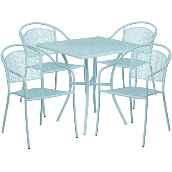 Wholesale 28'' Square Sky Blue Indoor-Outdoor Steel Patio Table Set with 4 Round Back Chairs