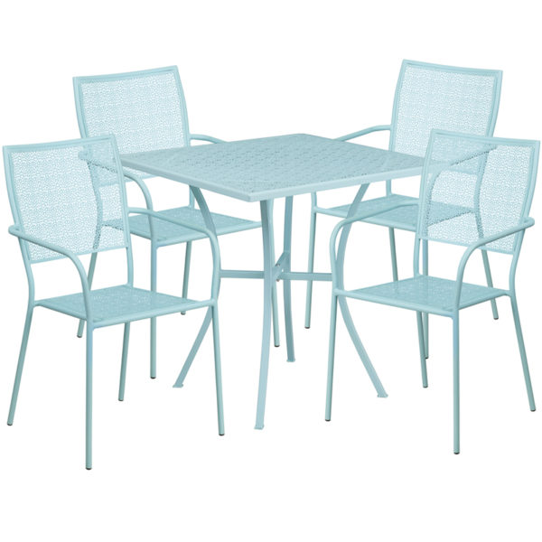 Wholesale 28'' Square Sky Blue Indoor-Outdoor Steel Patio Table Set with 4 Square Back Chairs
