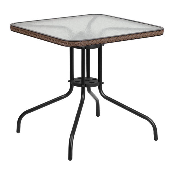 Wholesale 28'' Square Tempered Glass Metal Table with Dark Brown Rattan Edging