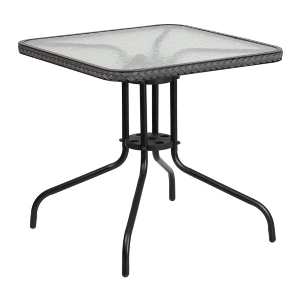 Wholesale 28'' Square Tempered Glass Metal Table with Gray Rattan Edging