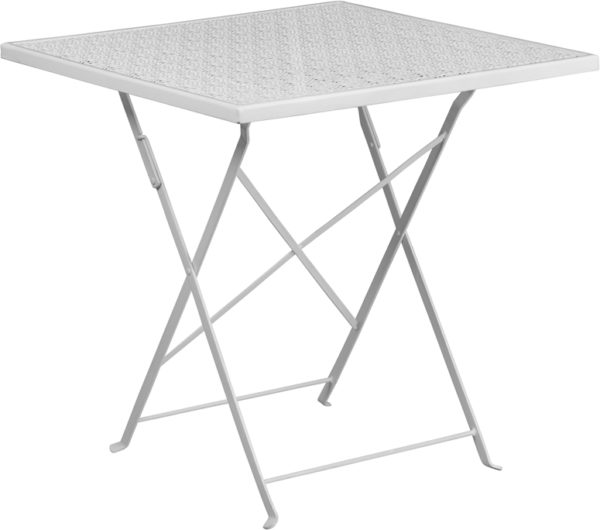 Wholesale 28'' Square White Indoor-Outdoor Steel Folding Patio Table