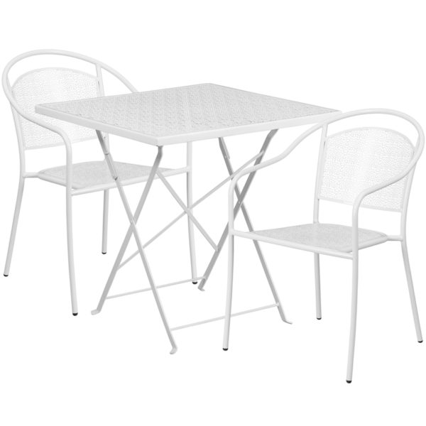 Wholesale 28'' Square White Indoor-Outdoor Steel Folding Patio Table Set with 2 Round Back Chairs