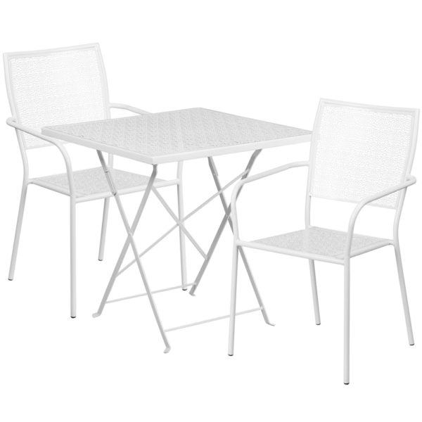 Wholesale 28'' Square White Indoor-Outdoor Steel Folding Patio Table Set with 2 Square Back Chairs
