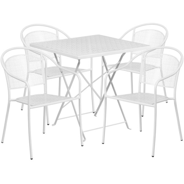 Wholesale 28'' Square White Indoor-Outdoor Steel Folding Patio Table Set with 4 Round Back Chairs