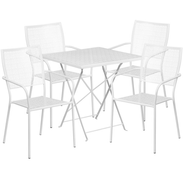 Wholesale 28'' Square White Indoor-Outdoor Steel Folding Patio Table Set with 4 Square Back Chairs